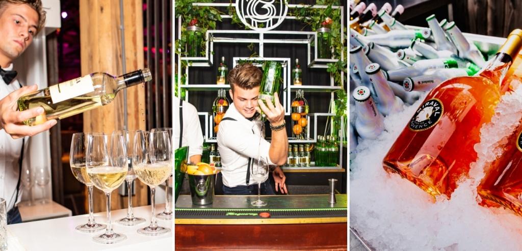 Dranken catering, shaker die gin tonic maakt, bartender die wijn inschenkt en chamopagne bar met gekoelde dranken