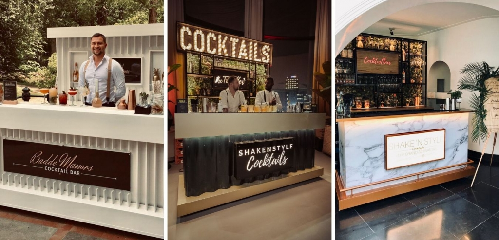 Cocktailshakers achter verschillende luxe cocktailbars