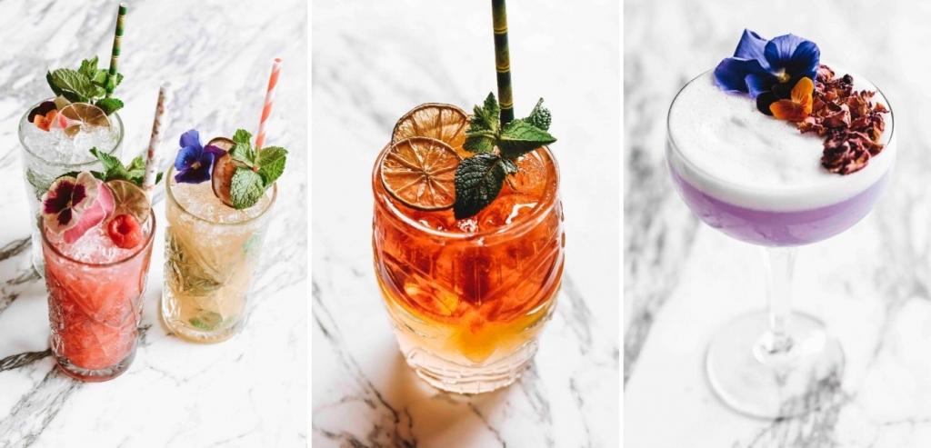 Verschillende cocktails in glazen die ook verhuurd kunnen worden